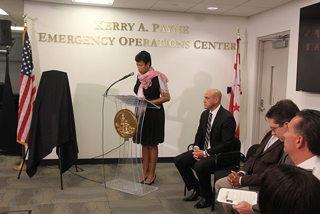 Mayor Bowser speaks at ceremony dedicating DC Emergency Operations Center in honor of Kerry A. Payne