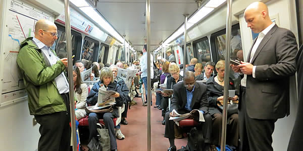 Commuters riding Metro