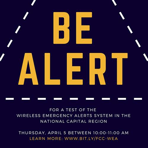 National Capital Region to test wireless emergency alerts system on