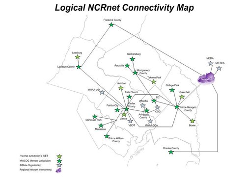 A map depicting the inter-connectivity of emergency communications infrastructure in the National Capital Region.