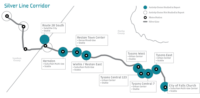 Silver Line Corridor - Activity Centers from COG Place   Opportunity Report