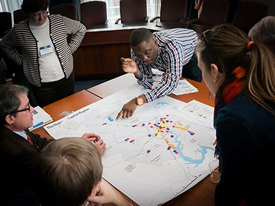 Members of the Fall 2014 CLI collaborate on a mapping activity.